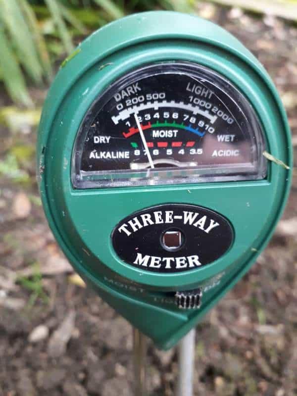 Soil gauge for measuring the soils moisture, soil pH and intensity of sunlight.